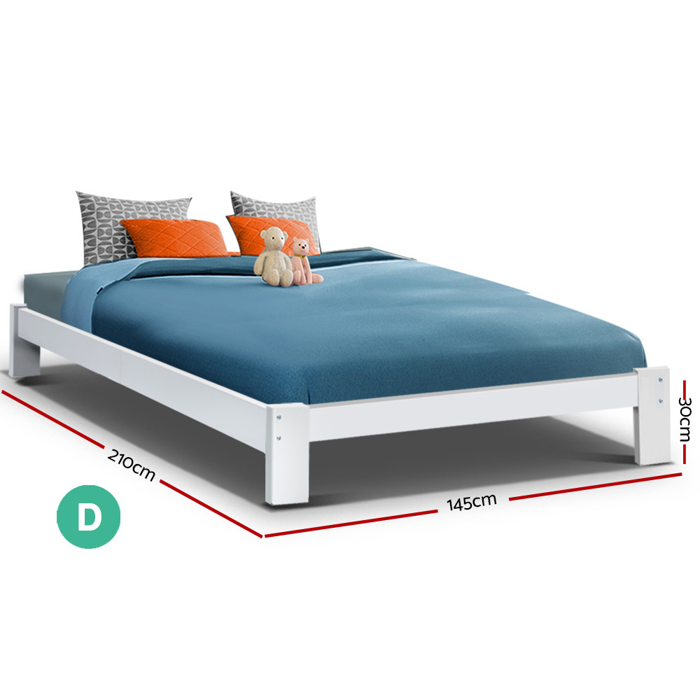 Double Wooden Bed Frame Base - White