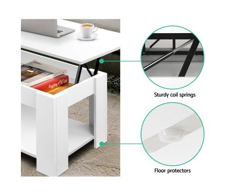Emily Lift Up Top Mechanical Coffee Table White