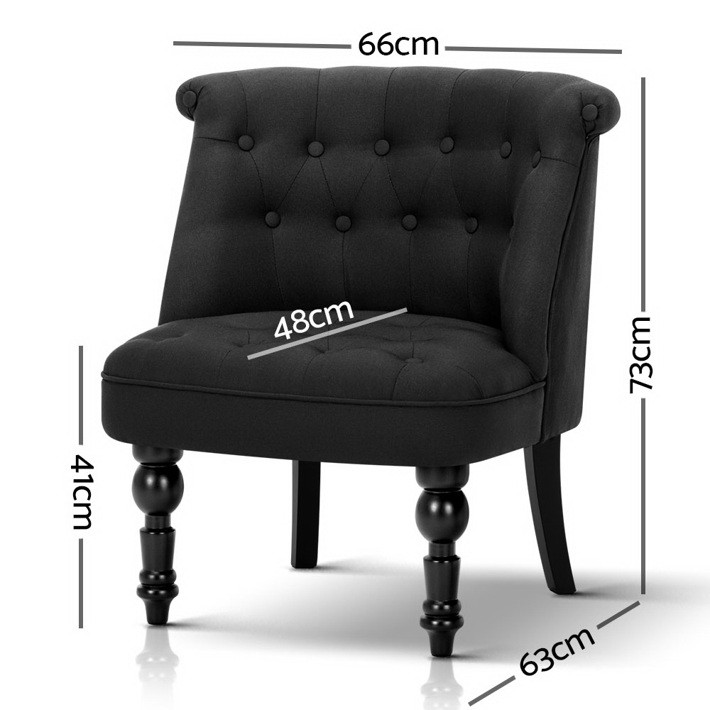 Lauran Fabric Occasional Accent Chair Black
