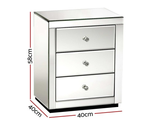 Anja Mirrored Bedside Table