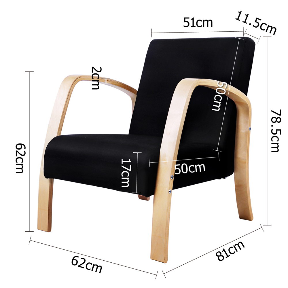 Wooden Armchair with Cushion Black