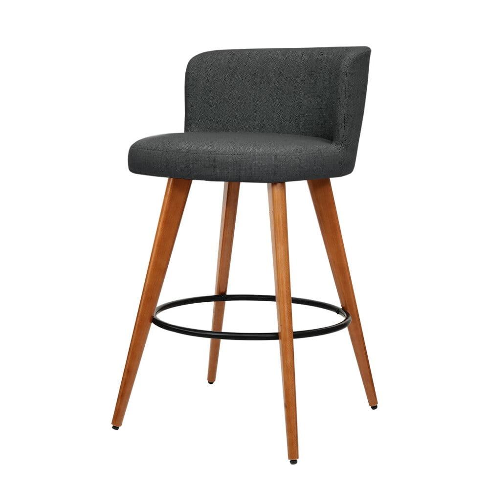Reece Wooden Bar Stools Fabric Charcoal Grey 2