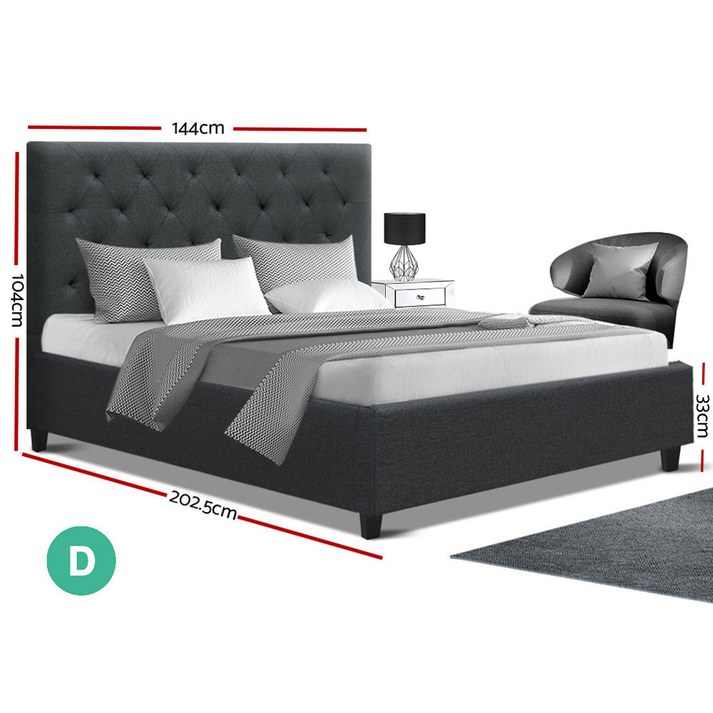 Annaka Double Bed Charcoal