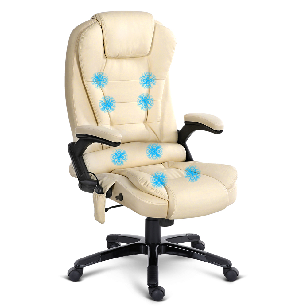 Ellen Leather Reclining Massage Chair Beige