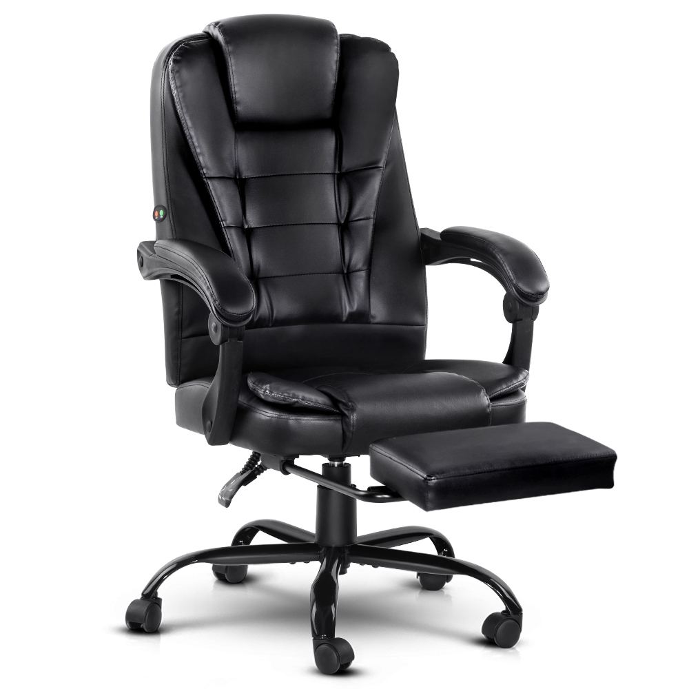 Massage Office Chair Recliner Footrest Black