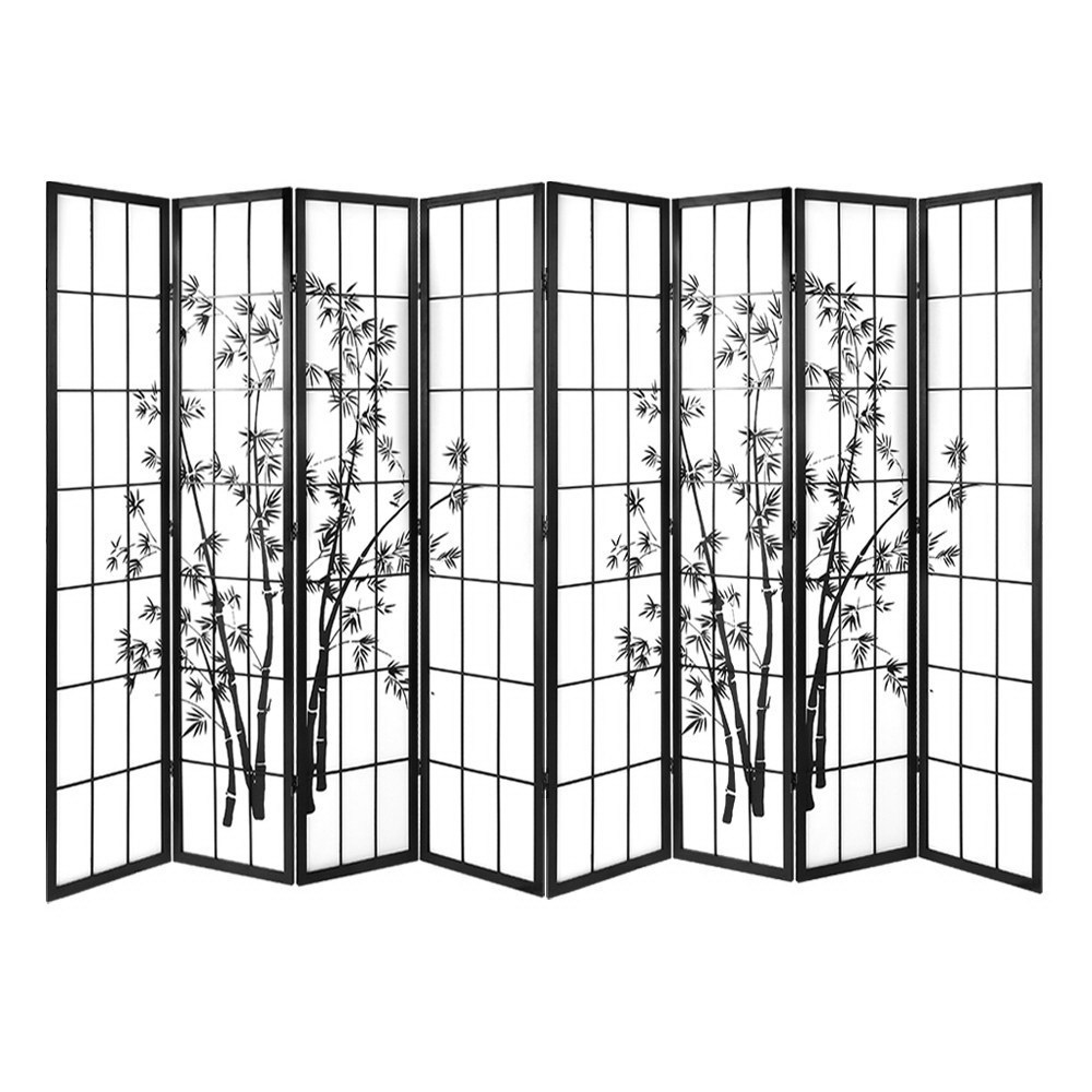 8 Panel Room Divider Dividers Shoji Bamboo Black White