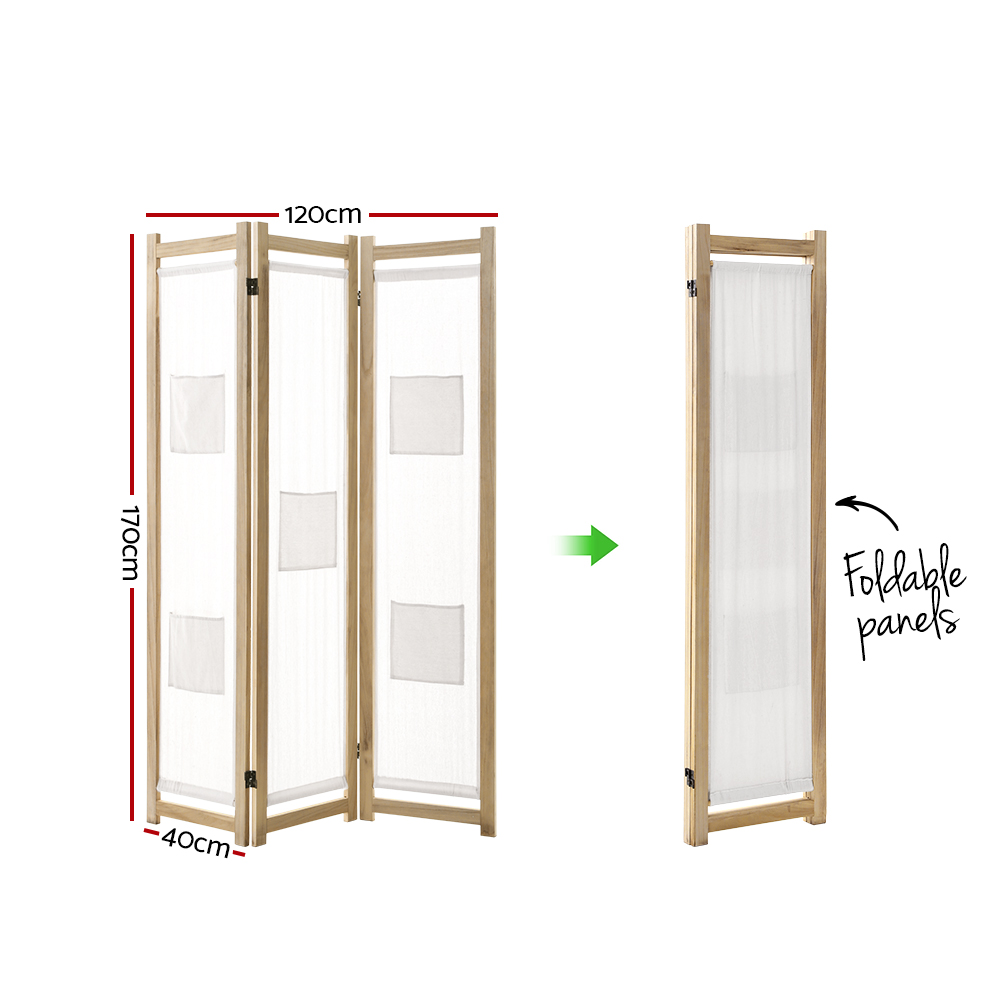 3 Panel Room Divider Wood Fabric White Natural