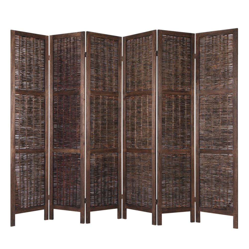 6 Panel Room Divider Wood Willow Stand