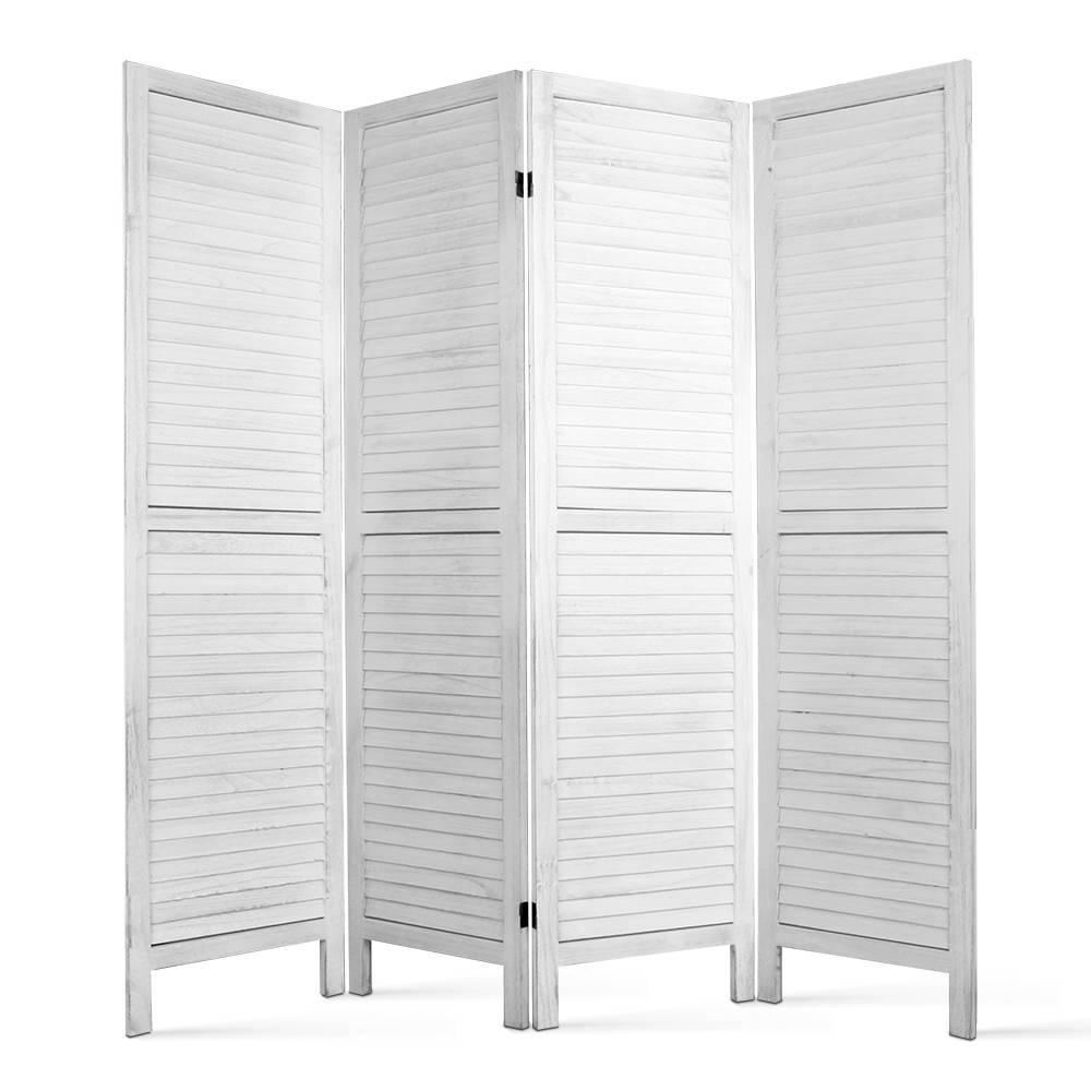 4 Panel Wooden Room Divider White