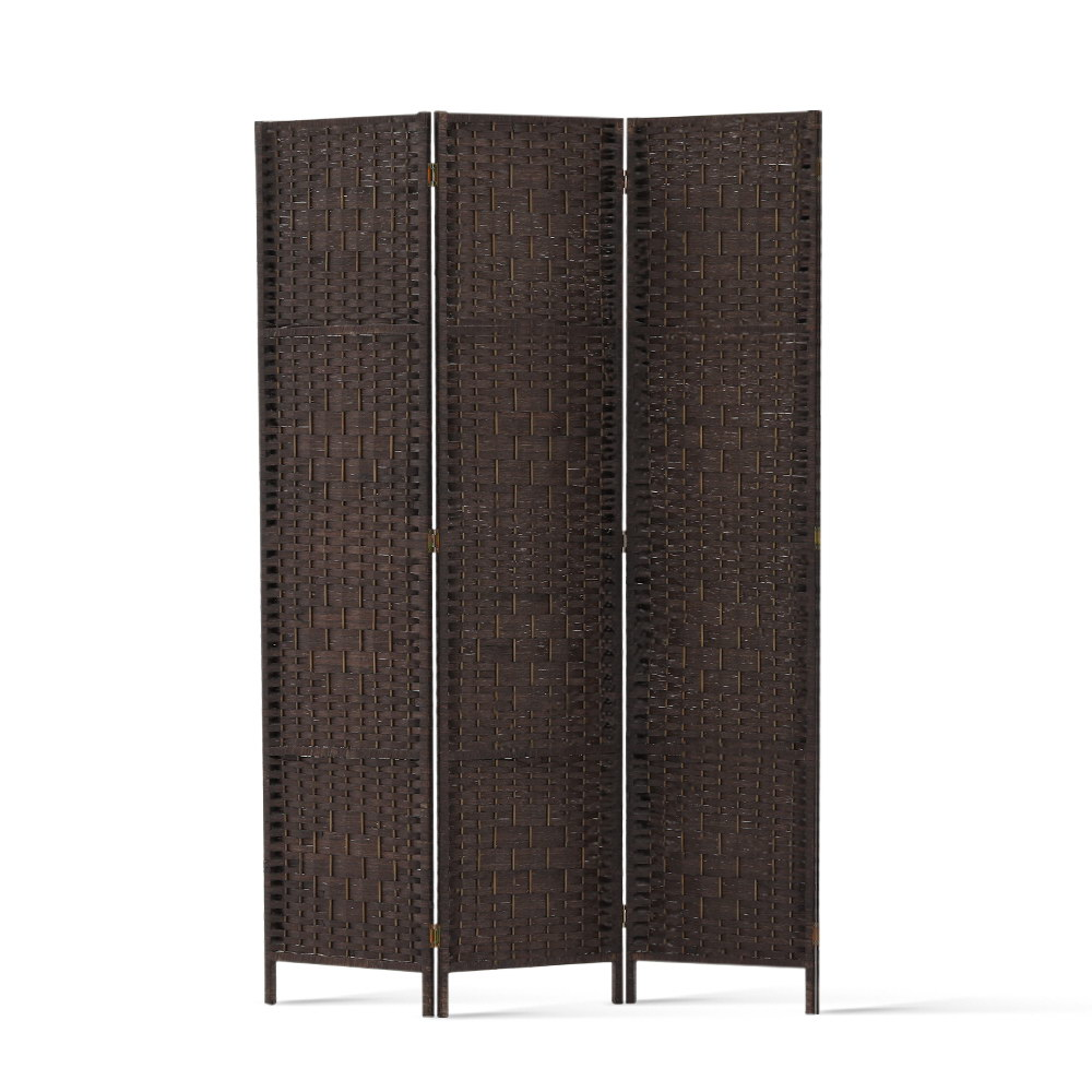 3 Panel Room Divider Brown