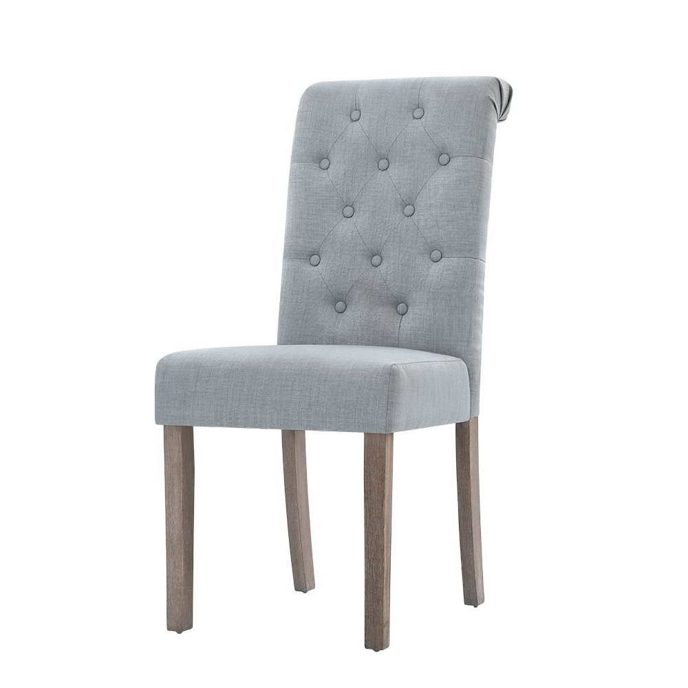 Lotte French Provincial Dining Chairs Leather Light Grey 2