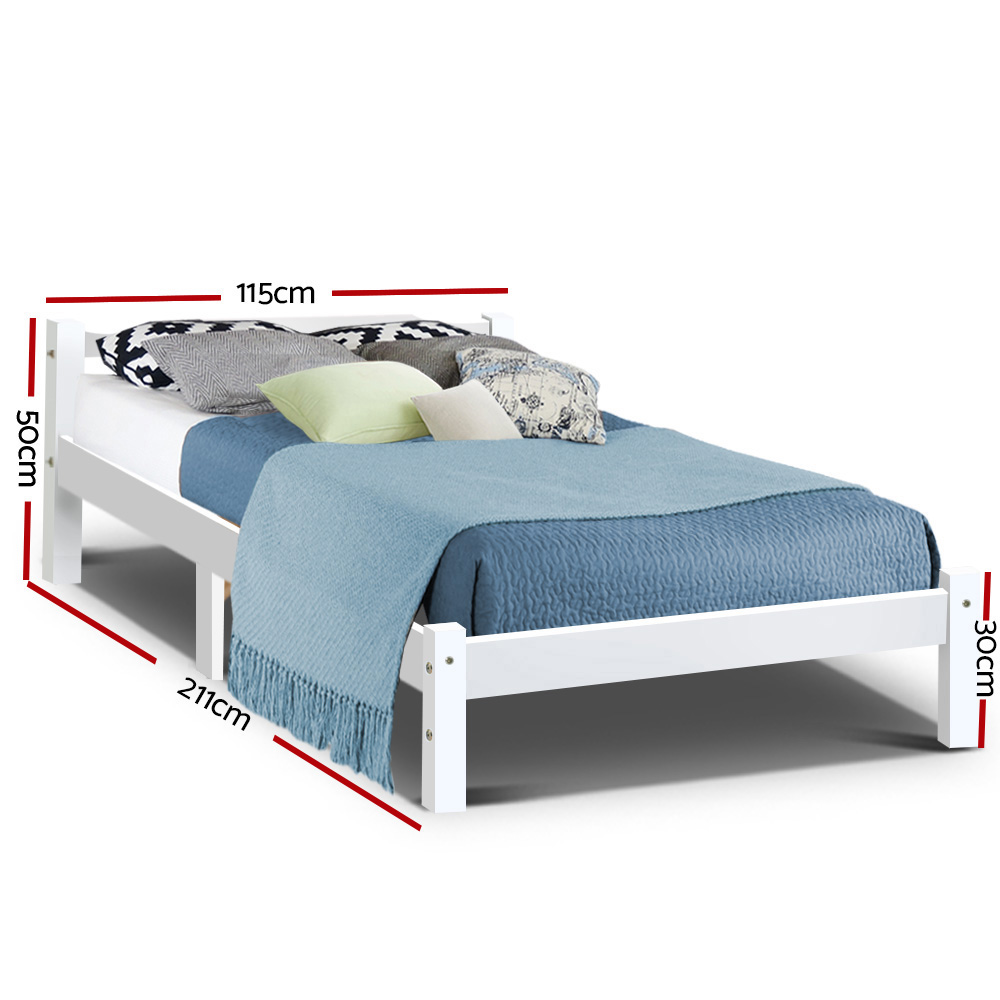 Sandi Timber King Single Bed White