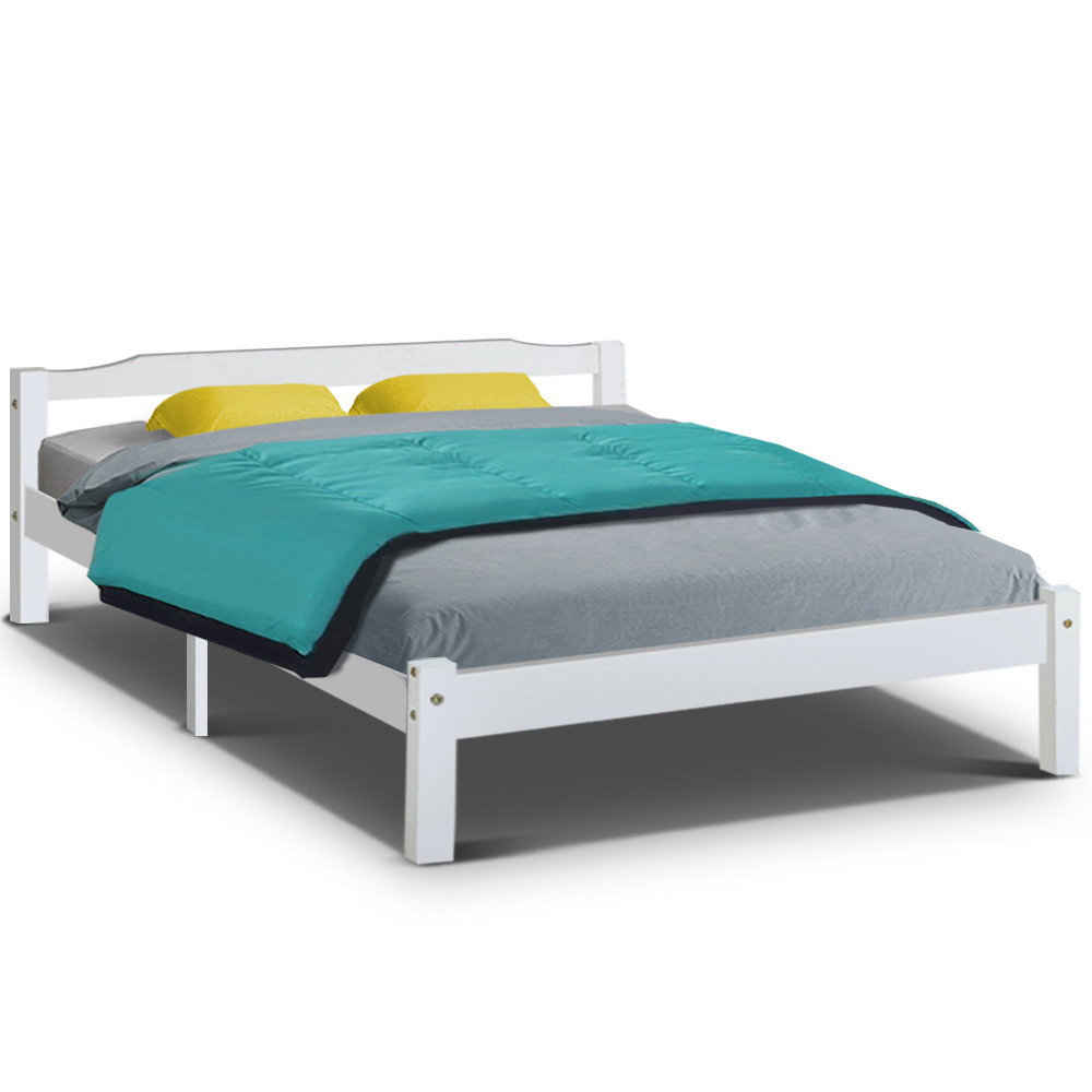 Sandi Timber Queen Bed White