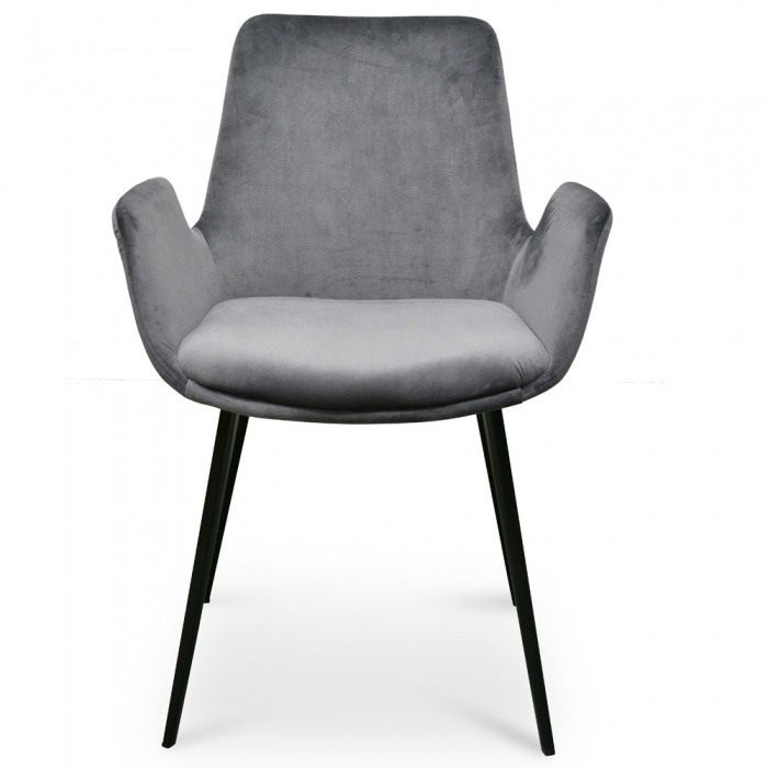 Jamila Dining Chair Grey Velvet (Set of 2)
