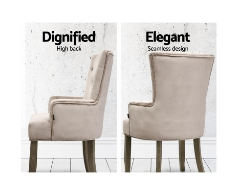 Heidi French Provincial Chairs Velvet Beige