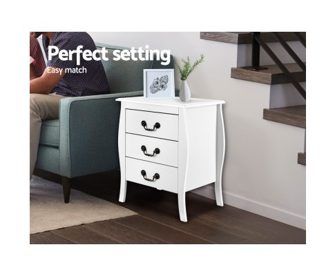 Amalie French Provincial Bedside Table White