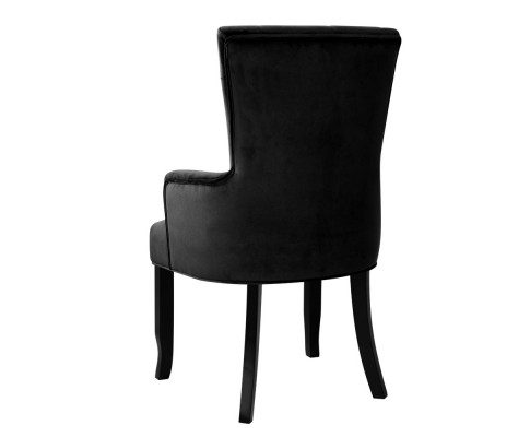 French Provincial Chair Velvet Black