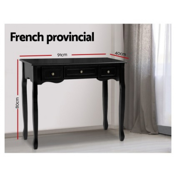 Audrey French Provincial Console Table Black