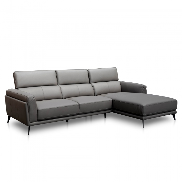 Parker Right Chaise Sofa Charcoal Leather