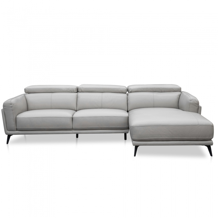 Oliver Leather Right Chaise Sofa Grey