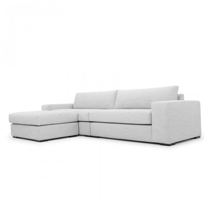 3 Seater Sofa With Chaise Light Texture Grey