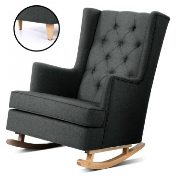 Shelby Rocking Armchair Charcoal – Charcoal