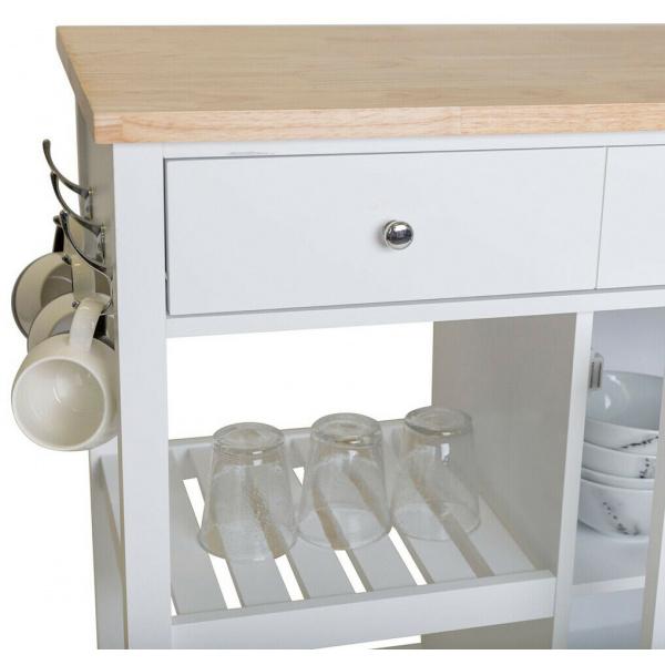Elka Kitchen Storage Island Bench White
