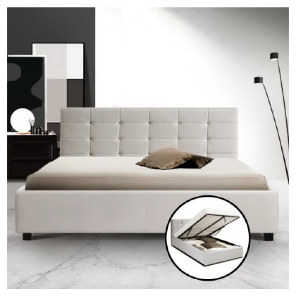 Elka Storage Bed White Leather
