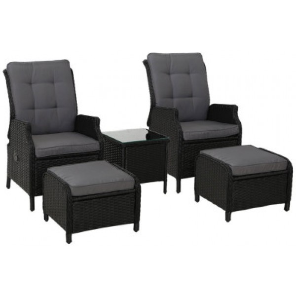 Freda Outdoor Reclining Chairs Black