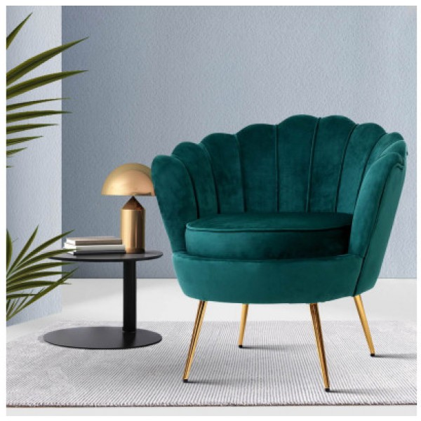 Stellar Velvet Green Arm Lounge Chair