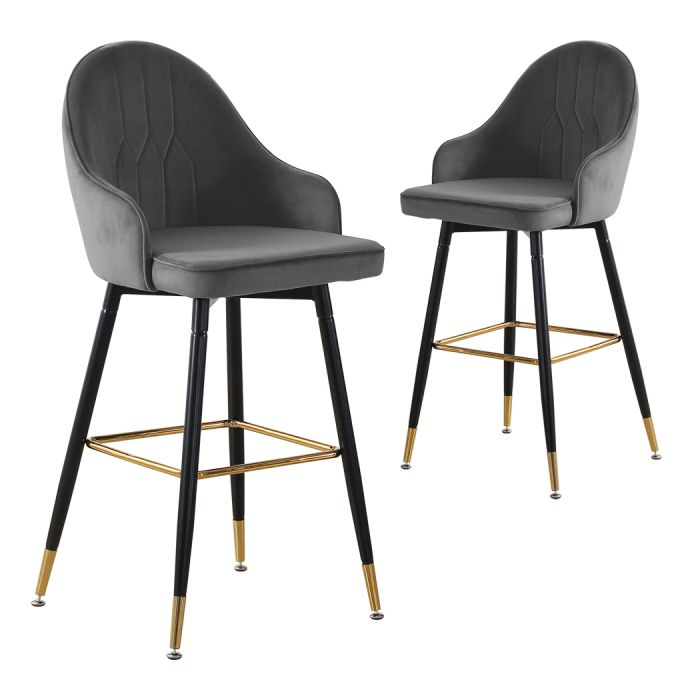 Eva Grey Velvet Bar Stools