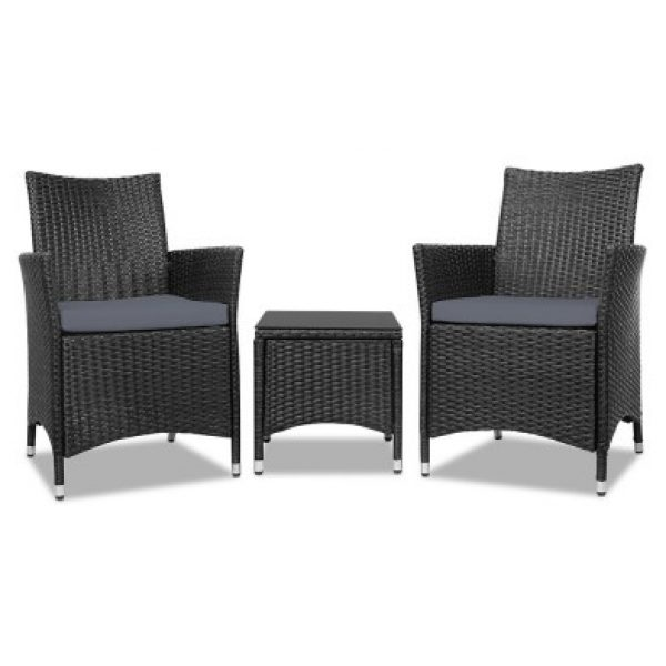 Freda Outdoor 3 Piece Setting Charcoal