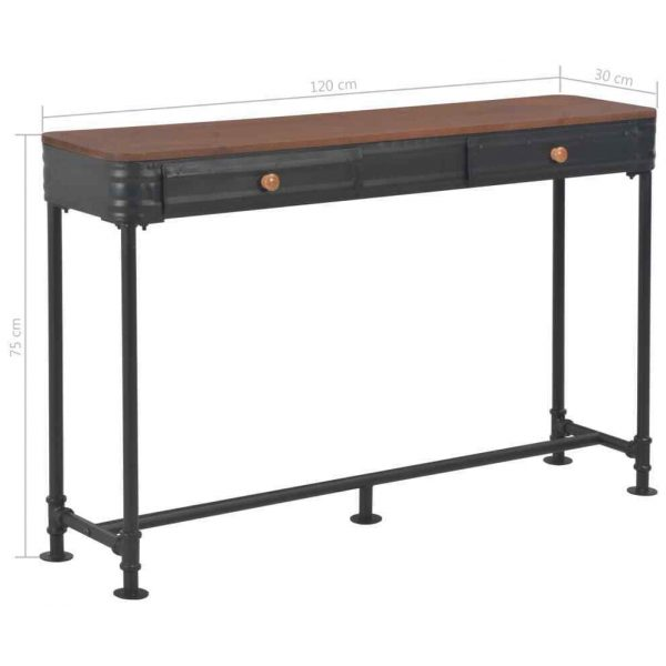 Jacob Vintage Industrial Console Table Black