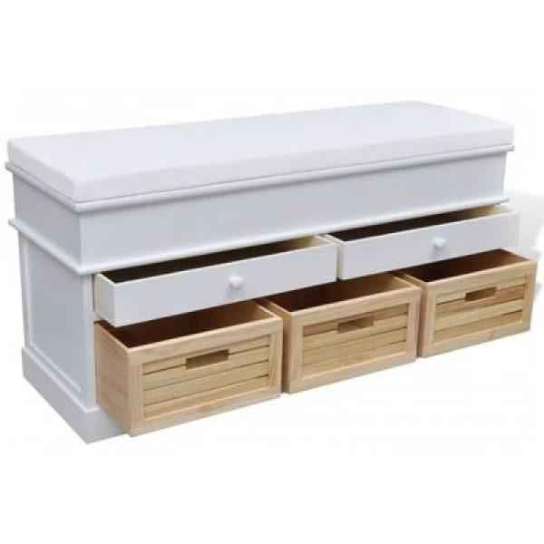 Preeta White Storage Bench Seat