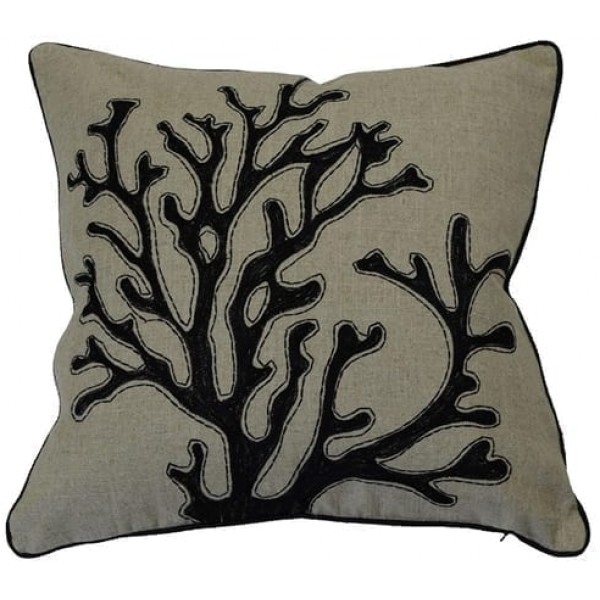 Coral Black Cushion  Cover | Theo and Joe
