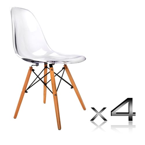 replica eames dining chair dsw clear set of 4