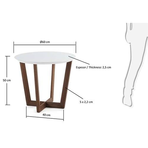 Rondo Side Table | White & Walnut Veneer