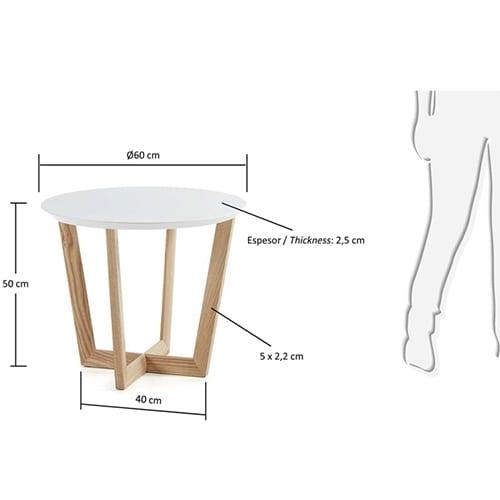 Rondo Side Table   White & Ash