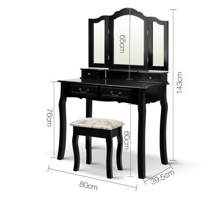 4 Drawer Dressing Table with Mirror - Black