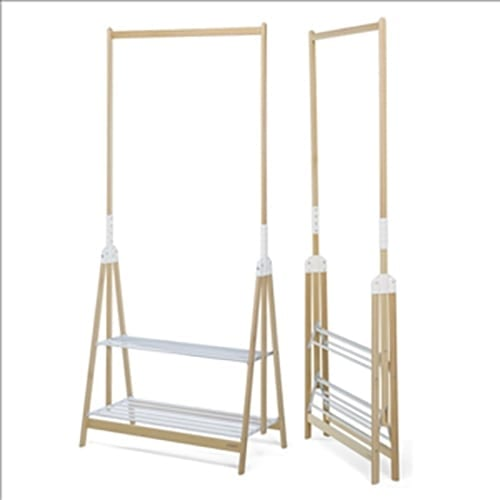 Standup Clothes Rack-Nat/wht
