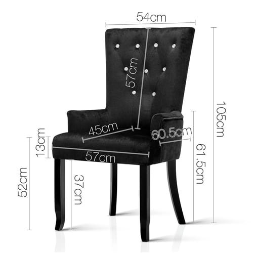 French Provincial Dining Chair | Black