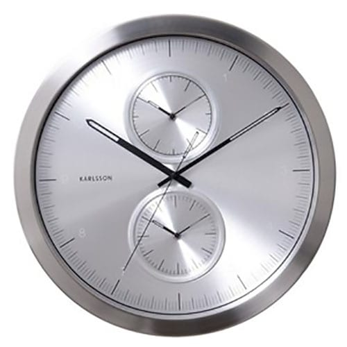 Karlsson Multiple Time Wall Clock - Brushed Aluminium