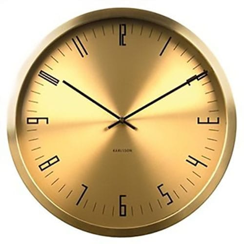 Karlsson Cased Index Wall Clock - Steel Brass