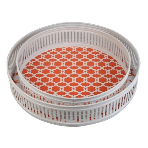 Medallion Orange Drinks Tray Set | Madras Link