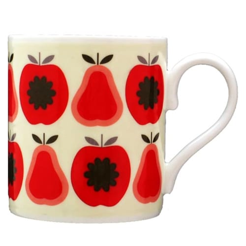 Orla Kiely China Mug Apples and Pears Red Print