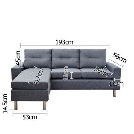 4 Seater Linen Fabric Sofa Couch w/ ottoman Grey