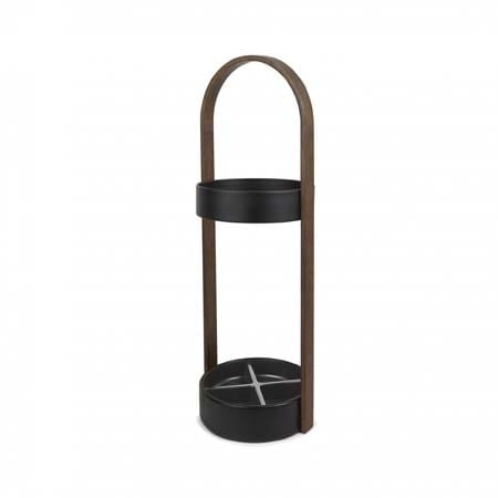 Umbra Hub Umbrella Stand | Black and Walnut