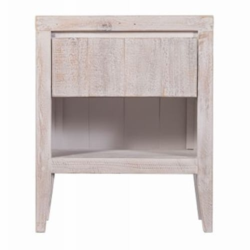 Woody Bedside Table White Wash Finish