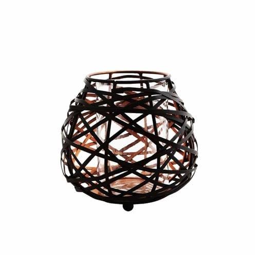 Koh Metalico Oval Black Candle Holder | Medium