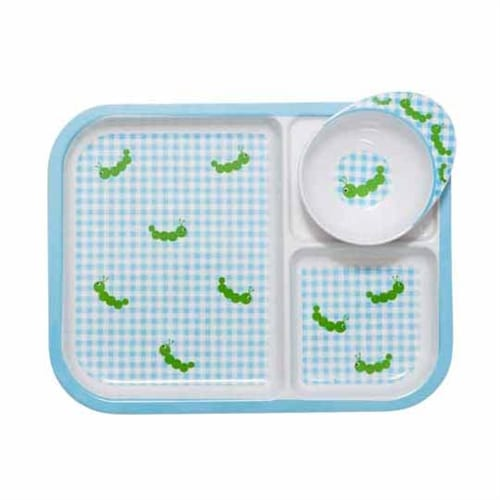 Rice Children's Melamine Tray | Caterpillar Blue